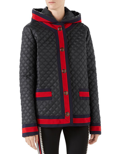 Quilted Poly Caban Jacket