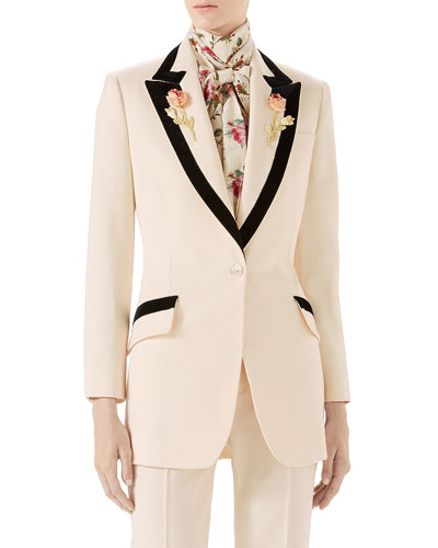 Floral-Embroidered Wool Jacket
