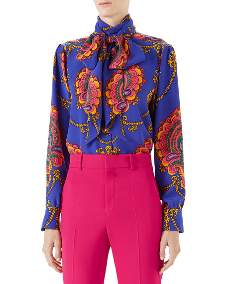 Gucci 70s Graphic-Print Silk Shirt