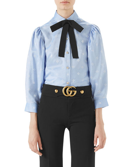 Gucci Bee-Jacquard Oxford Cotton Shirt