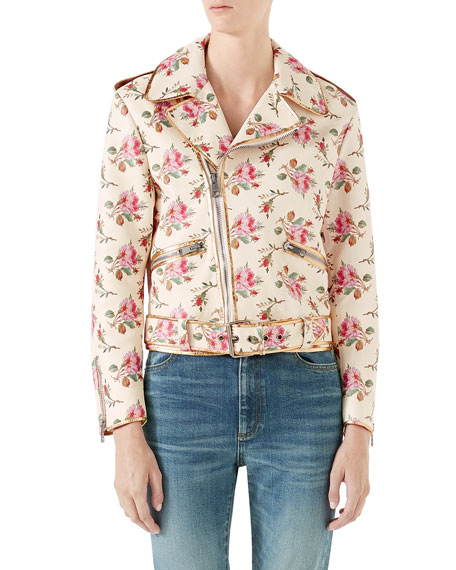 Rose-Print Leather Biker Jacket