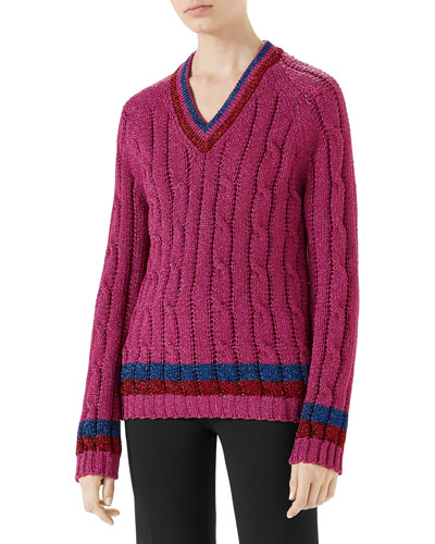 Lurex® Cable-Knit Sweater