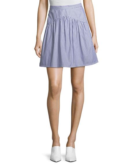 Striped A-Line Knee-Length Cotton Poplin Skirt