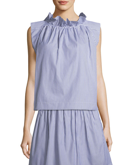 Mardi Sleeveless Striped Cotton Poplin Blouse w/ Ruffled Trim