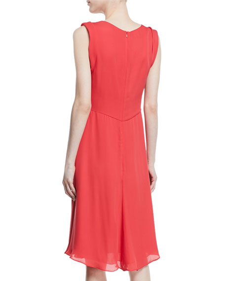 Deep-V Sleeveless A-Line Knee-Length Dress