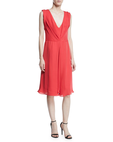Deep-V Sleeveless A-Line Knee-Length Dress, Red