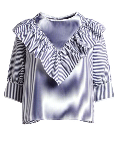Dimanche Elbow-Sleeves Striped Poplin Blouse w/ Ruffled Frill