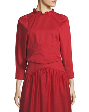 6b8cff501806 Atlantique Ascoli Samedi Ruffled-Collar Button-Back Cotton-Linen Blouse