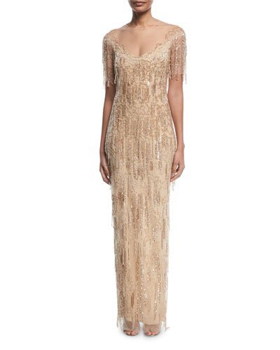 Designer evening wear cocktail dresses a line gowns at neiman beaded fringe column evening gown junglespirit Choice Image