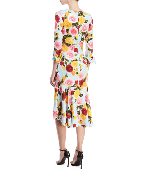 Deep-V Long-Sleeve Floral-Print Midi Dress