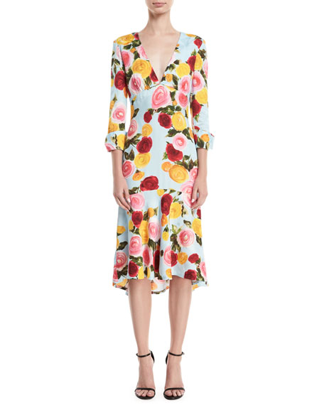 Naeem Khan Deep-V Long-Sleeve Floral-Print Midi Dress