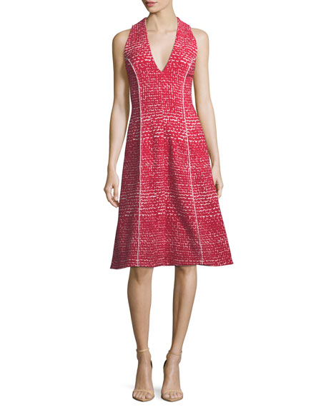V-Neck Sleeveless Fit-and-Flare Tweed Dress