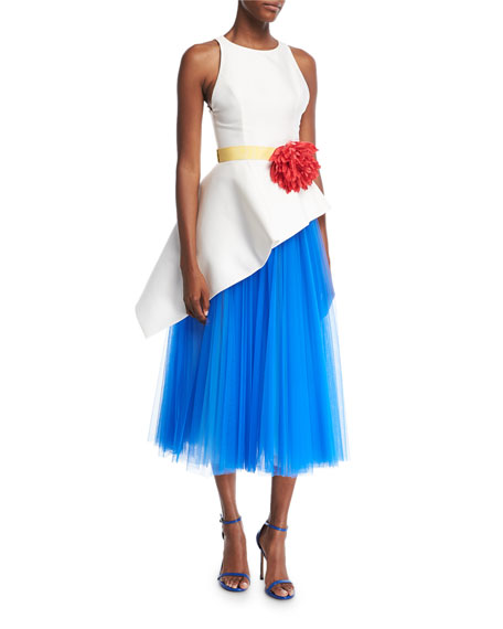 Sleeveless Mikado & Tulle Asymmetrical Midi Dress with Flower Belt