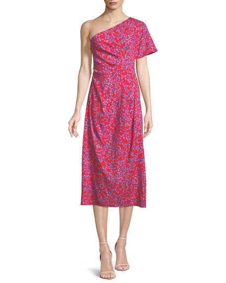 Carolina Herrera One-Shoulder Floral-Print Textured Silk Dress