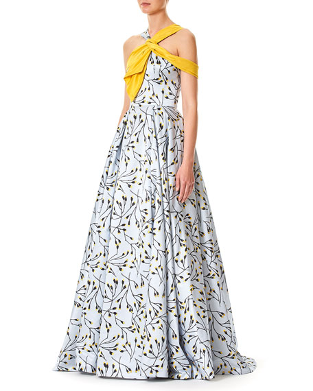 Floral-Bud Print Sleeveless Cotton-Sateen Evening Gown