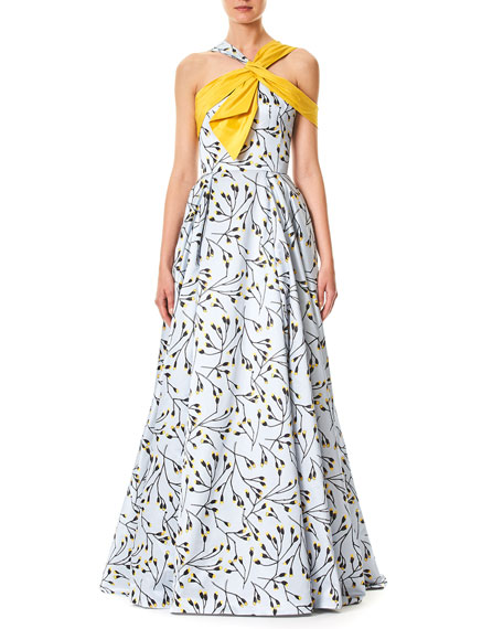 Carolina Herrera Floral-Bud Print Sleeveless Cotton-Sateen