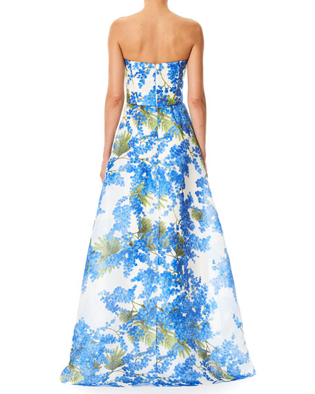 Sweetheart-Neck Floral-Print Evening Gown