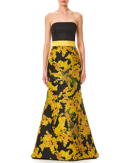 Carolina Herrera Strapless Mimosa-Flower Print Trumpet Evening