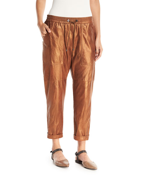 Metallic Leather Cropped Utility Pants