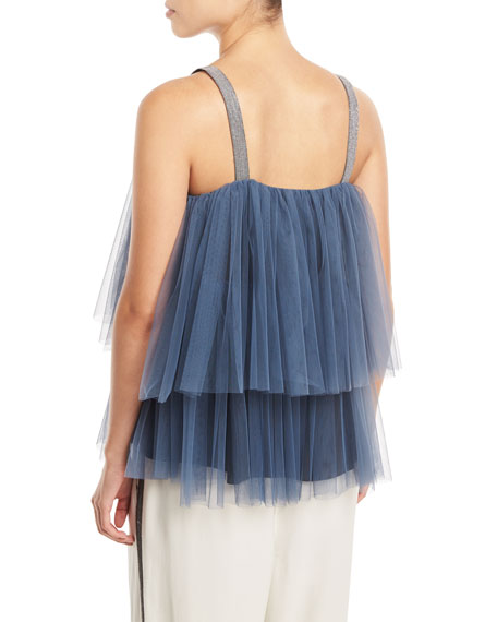 Image 2 of 2: Brunello Cucinelli Tiered Pleated Tulle Top with Monili Straps