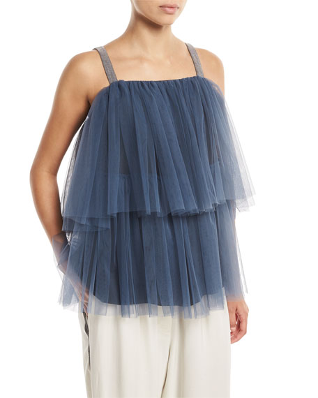 Image 1 of 2: Brunello Cucinelli Tiered Pleated Tulle Top with Monili Straps