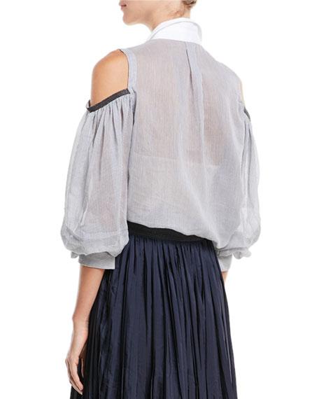 Cold-Shoulder Button-Front Sheer Striped Blouse