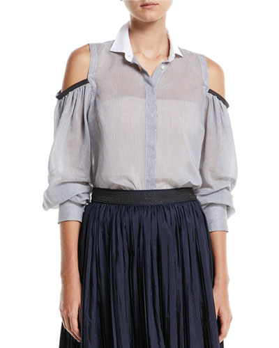 Cold-Shoulder Button-Front Sheer Striped Blouse