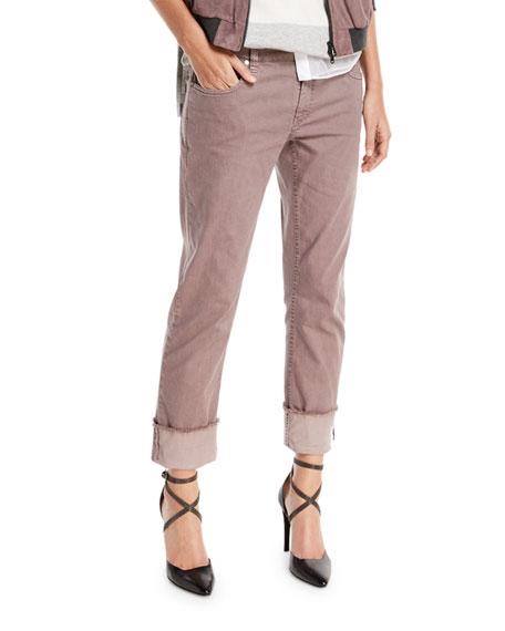 Straight-Leg Large-Cuff Jeans