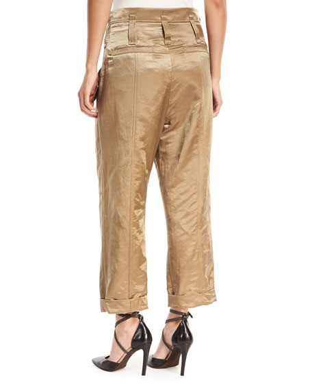 Linen-Satin Straight-Leg Cargo Pants