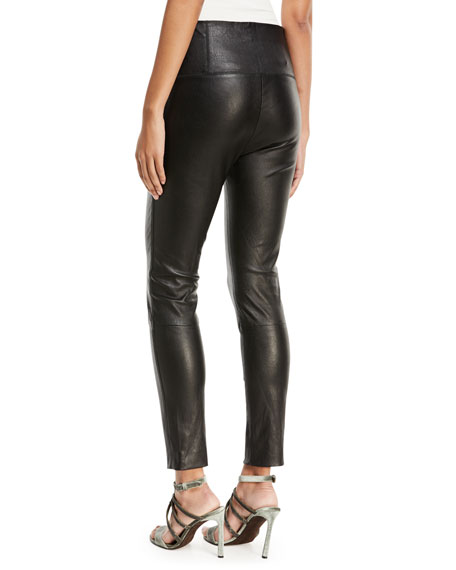 High-Waist Side-Zip Lamb Leather Leggings