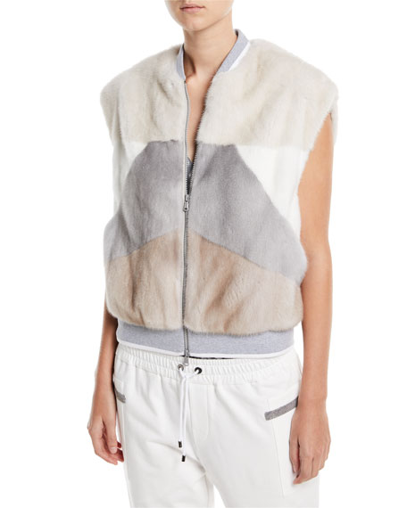 Brunello Cucinelli Mink-Fur Geometric Vest and Matching Items