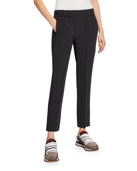 Brunello Cucinelli Crinkled Crepe Pull-On Pants and Matching