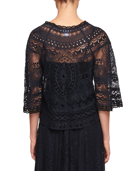 Tablecloth Lace Elbow-Sleeve Shirt