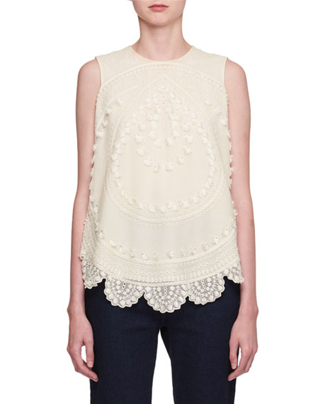 Chloe Feathered-Jacquard Wide-Leg Jeans and Matching Items