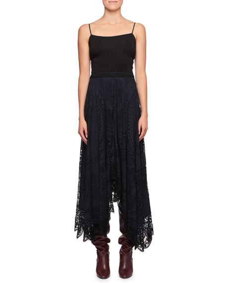 Tablecloth Lace Handkerchief-Hem Cotton Skirt