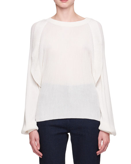 Chloe Crewneck Long-Sleeve Pleated Silk Cotton Sweater