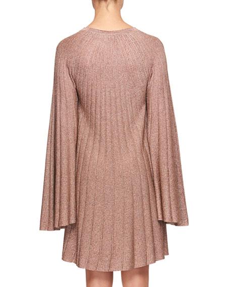 Bell-Sleeves Lurex® Pleated Mini Dress
