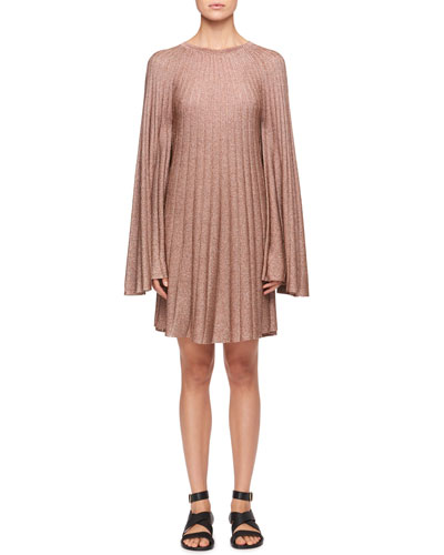Bell-Sleeves Lurex® Pleated Mini Dress