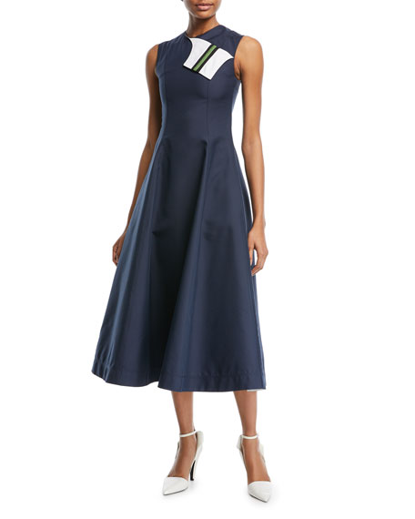 CALVIN KLEIN 205W39NYC Sleeveless Fit-and-Flare Tea-Length Dress with Striped Foldover