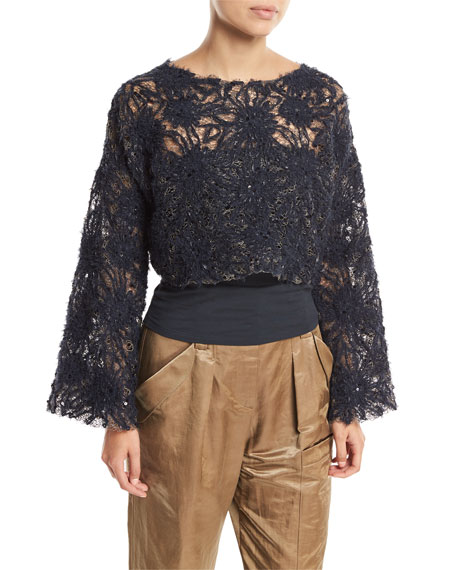 Artisan Round-Neck Bell-Sleeve Blouse with Tube Top and