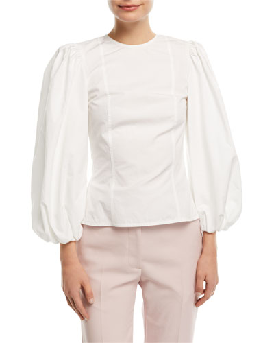 Crewneck Blouson-Sleeve Fitted Poplin Top