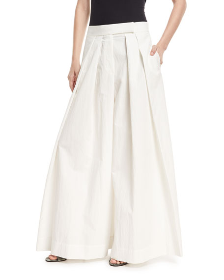 Brunello Cucinelli Pleated Wide-Leg Cotton-Blend Skirt-Pants