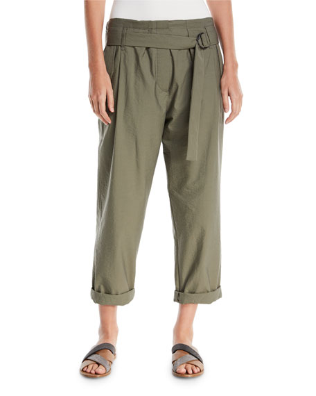 Brunello Cucinelli Crinkled Cotton Straight-Leg Utility Pants