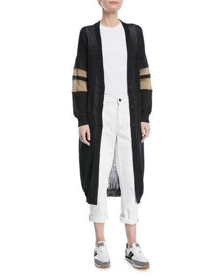 Brunello Cucinelli Long Open-Front Belted Duster Cardigan with