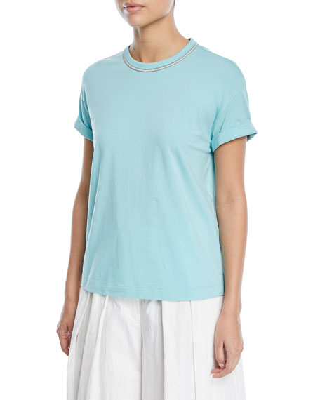Brunello Cucinelli Crewneck Short-Sleeve Tee with Lurex®
