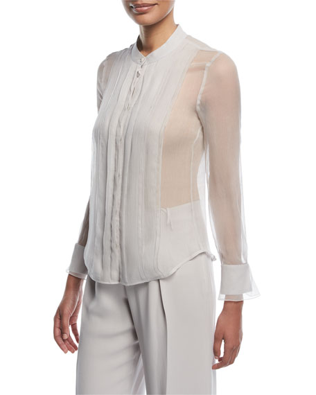 Emporio Armani Button-Front Sheer Silk Blouse with Front