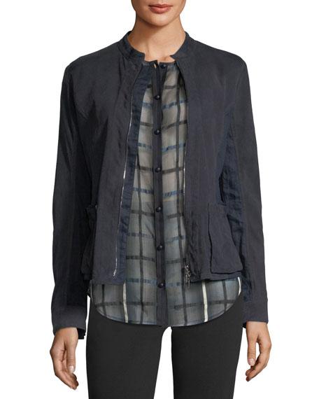 Zip-Front Suede Jacket