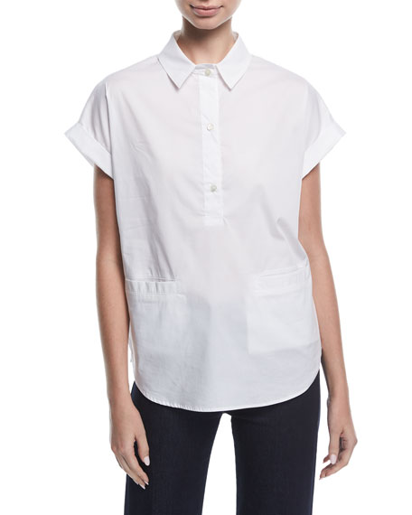 Emporio Armani Short-Sleeve Collared Boxy Cotton Poplin Blouse