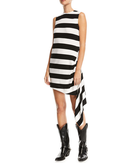 CALVIN KLEIN 205W39NYC Sleeveless Horizontal-Stripe A-Line Dress