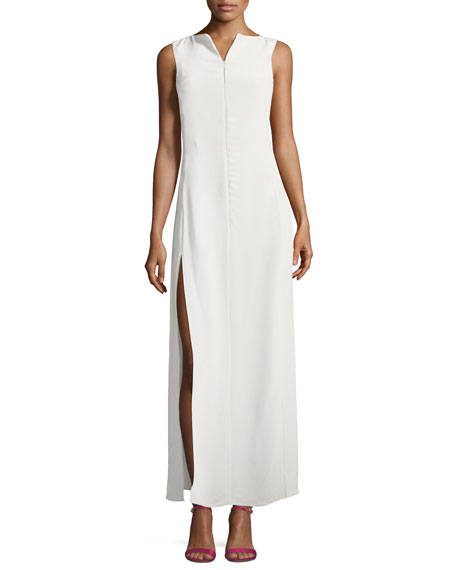 Zip-Front Sleeveless High-Slit Maxi Dress